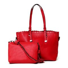 Dreubea Women's Leather With inner HandBag -Red