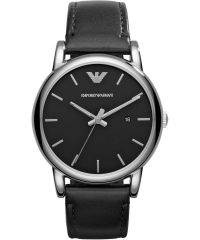 Emporio Armani Quartz stainless steel black/silver Leather Watch