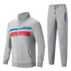 Hugo Boss Zip-Through Tracksuit With Color Block Design- Ash
