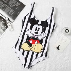Mickey Mouse Designed One-Piece Body Fitting  White Bikini