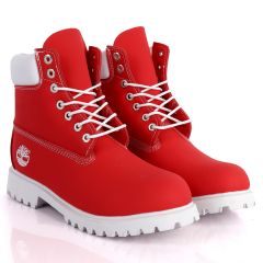 Tim Adventure 6 Inch Leather Boots Red  White