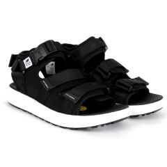 NB Three Straps All Black With White Sole Sandal