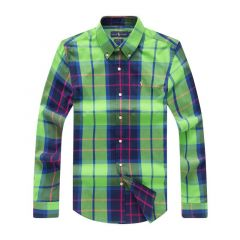 PRL Men's Stripe Patterned Long Sleeve Shirt- Green