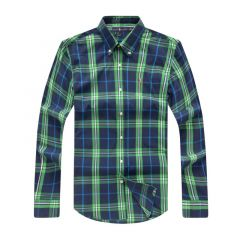 PRL Custom Fit Madras Check Button Down Long Sleeve Shirt- Green
