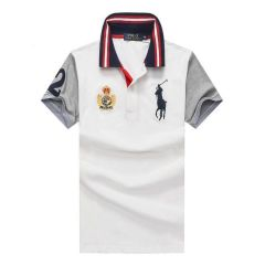 RL Custom Fit Crown Blue Big Pony HO White polo Shirt