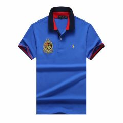 PRL Custom Fit Dual Toned Collar Premium Cotton Polo Shirt- Blue