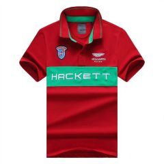 Hackett Aston Martin Racing Men's Premium Red And Green Cotton Polo Shirt