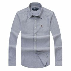 PRL Logo embroidered Button Down Chambray Shirt-Ash