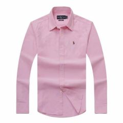 PRL Logo embroidered Button Down Chambray Shirt-Pink
