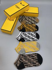 Fen Logo Designed Cotton 5 in 1 Black, Blue, White, Grey and Brown Ankle Socks