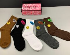 Dio Smiley Designed Cotton 5 in 1 Brown, Grey, Black, White And Chocolate Socks