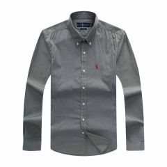 PRL Men's Cotton  Red Logo Embroidered Grey Button Down Shirt