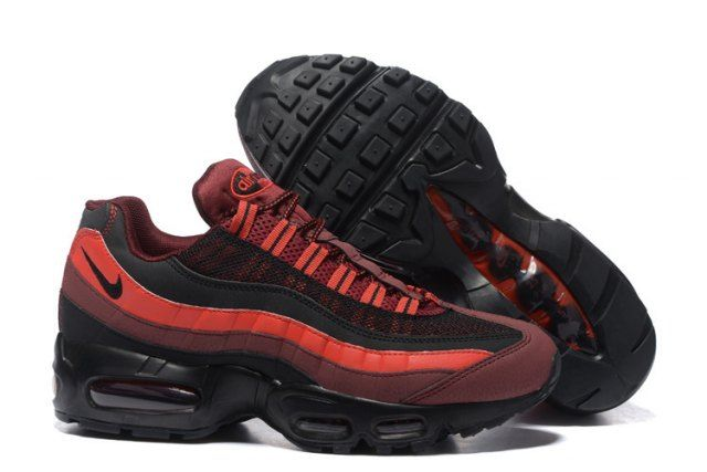 N A Max 95 Essential  Red Black University Men's Casual Trainers Running Shoes