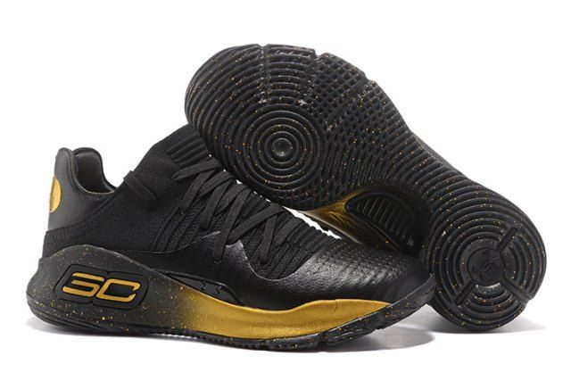 Under Armour Curry 4 Low Black Gold 2017 NBA Finals Mens Basketball  Sneakers