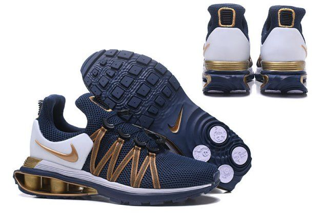 NK Shox Gravity Midnight Navy Metallic Gold Athletic Running Trainers