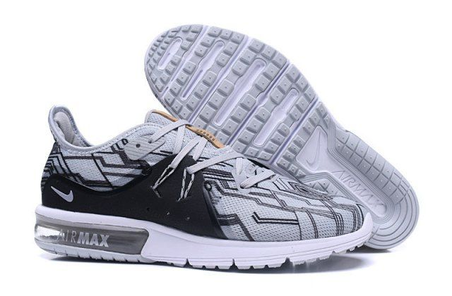 N A M Sequent Wolf Grey White Men's Running Shoes Sneakers