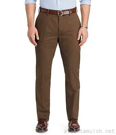 PRL Big & Tall Classic Fit Flat Chino Pants Chocolate Brown