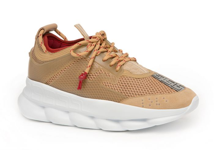 Versace Sand/White Colorway Chain Reaction Mesh Leather Sneakers
