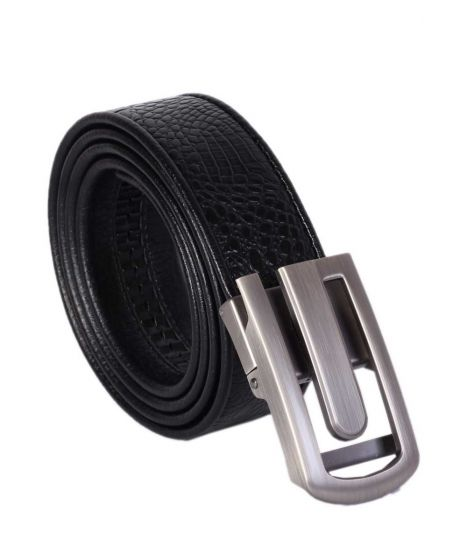 Men's Black Leather Head Buckle Plain Belts