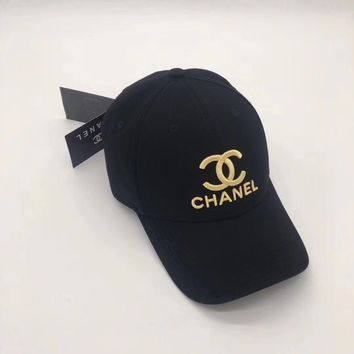 Chanel Embroidered Baseball Cap Black
