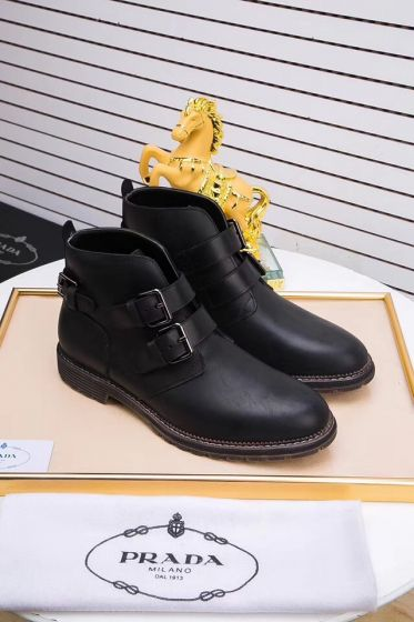 Prada Mens Black Leather Zippered Ankle Boots