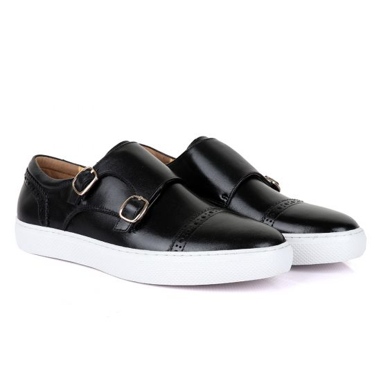 Terry Taylor Black Leather Double Strap Sneaker Shoe