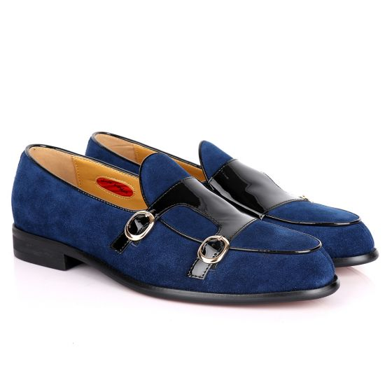 John Foster Double Monk Blue Suede And Black Wetlips Strap Shoe