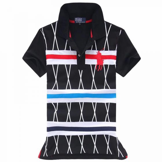 Ralph Lauren Strip Colorful Pony in Black Red white polo
