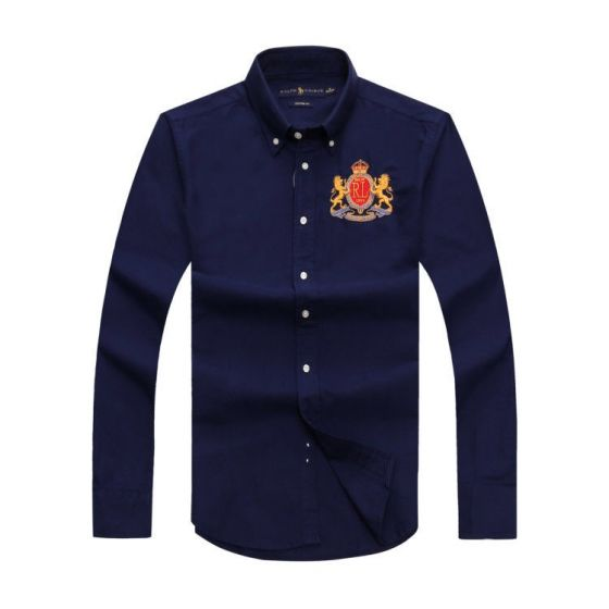 PRL Classic Fit Oxford Button-Down MCM RL Badge Crest Longsleeve Shirt - Navyblue