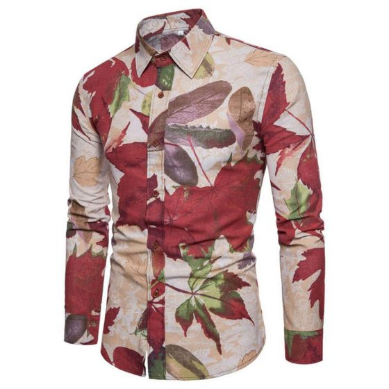 Vintage Brown Classic printing long sleeve shirts