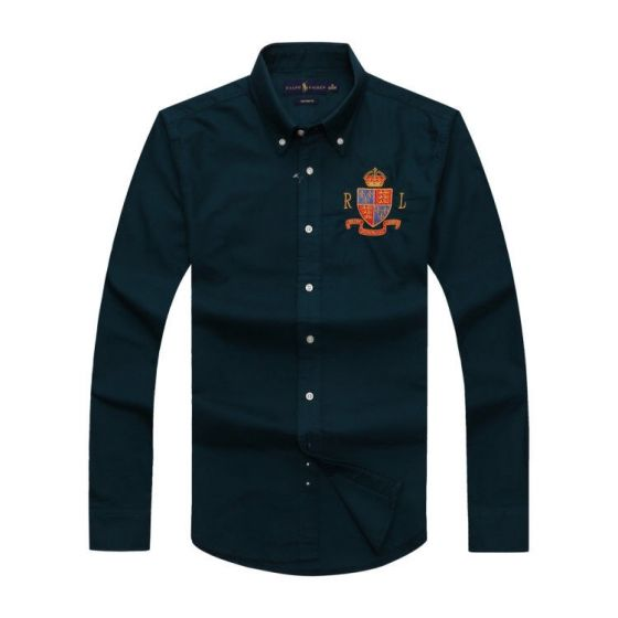 PRL Classic Fit Oxford Button-Down RL logo Badge Crest Longsleeve Shirt - Dark Green