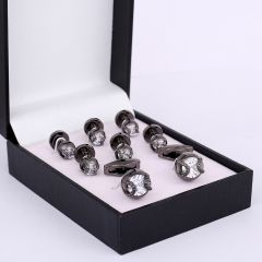 Men's Silver Crystal Designed Cufflinks And Button Set