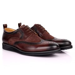 CK  Classic Brogue And Half Suede Designed Leather Shoe