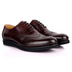 Berlut Classic Brogue Lace Up Designed Leather Shoe - Coffee