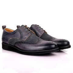 CK Classic Brogue And Half Suede Designed Leather Shoe - Grey
