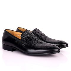 Berlut Croc And SIde Perforated Exquisite Designed Shoe - Black
