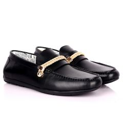 John Galliano Exquisite Gold Double Roped Designed Leather Shoe - Black