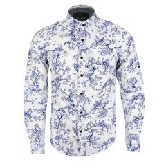 Bajieli Finest Quality White And Blue Floral Designed LongSleeve Shirt