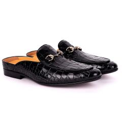 Terry Taylors Croc Leather With Gold Chain Men's Half Shoe- Black