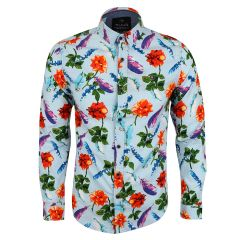 Baijieli Floral Sunflower Long Sleeve Slim Fit Button Up-Brown-Sky Blue