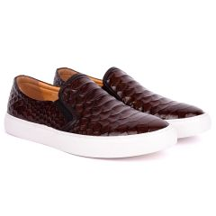 Terry Taylors Crocodile Skin Leather With White Sole Men's Sneaker Shoe- Coffee