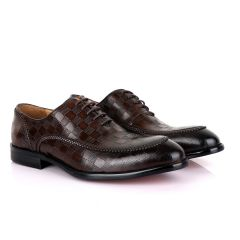 Berluti With Full Checkered Design Leather Derby shoes-Coffee