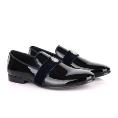 Billionaire Patent Wetlips Black with Blue Tape Loafers Shoe
