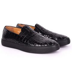 Terry Taylors All Black Croc Leather Sneaker Shoe