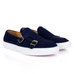 Terry Taylors Monk Double Strap Blue Suede Sneaker Shoe