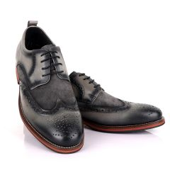 Billionaire Grey Oxford suede crest Leather Shoe