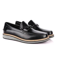 Salvatore Ferragamo Hybrid Glossy Black Leather Loafers