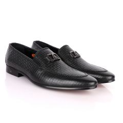 John Foster As Woven Black Leather Formal Shoe