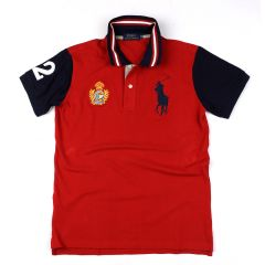PRL Red Fitted Polo Shirt With Striped Collar