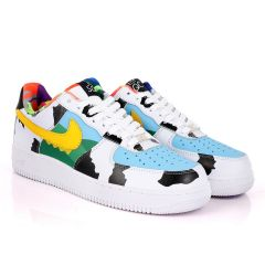 NK Force 1 SQC Low Premium Template Designed White Sneakers